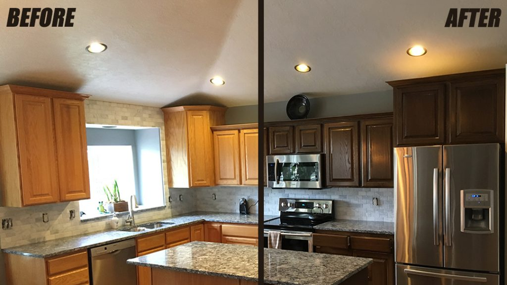 WoodWorks Refurbishing kitchen cabinet refinishing before and after