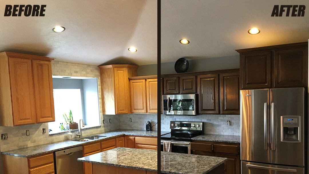 resurfacing kitchen cabinets before and after cabinet refinishing service woodworks refurbishing utah 25548